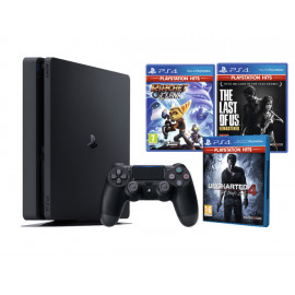 Pack: PS4 Slim 1 TB + Dual Shock 4 + Ratchet + The Last of Us + Uncharted 4 PShits