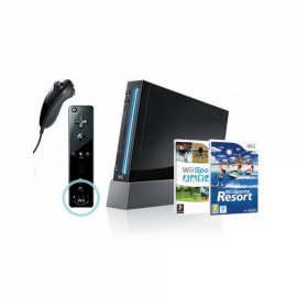 Pack: Wii Negra + Remote + Nunchuk + Wii Sports Resort + Wii Sports