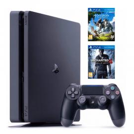 Pack: PS4 Slim Negra 500GB + Dual Shock 4 + Horizon Zero Dawn + Uncharted 4