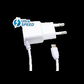 Cargador MicroUsb UltraSpeed 2.1A Blanco