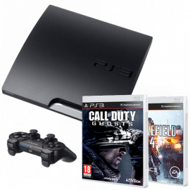 Pack: PS3 Slim 160 GB + Dual Shock 3 + Call Of Duty Ghosts + Battlefield 4