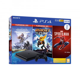 PS4 Slim 500GB + Horizon + Ratchet & Clank + Spider-Man