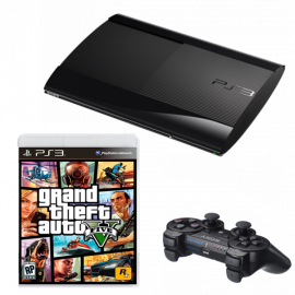 Pack: PS3 Ultraslim Negra 500GB + Dual Shock 3 + GTA V