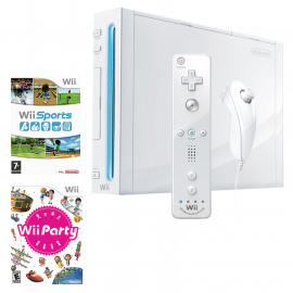 Pack: Wii + Wii Remote & Nunchuk + Wii Sports + Wii Party