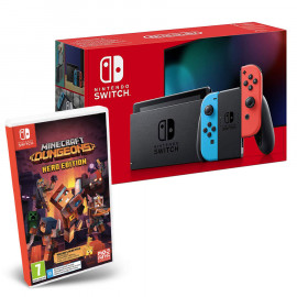 Pack: Nintendo Switch 2019 Rojo/Azul + Minecraft Dungeons Switch
